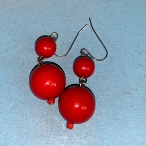Vintage red round ball earrings